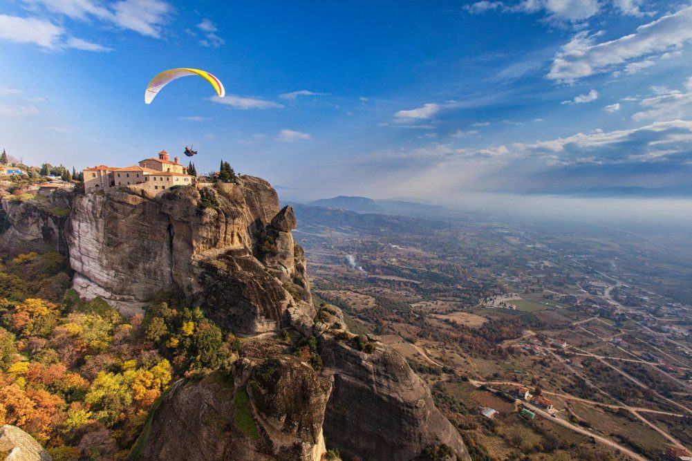 meteora view and paraglider